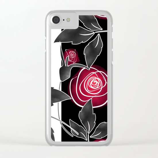 Red roses on black and white striped background. Clear iPhone Case