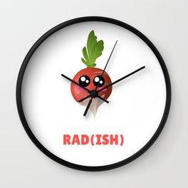 You Are Pretty Rad(ish) Cute Radish Pun Wall Clock