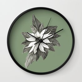 Florida Flower with Green Background Wall Clock