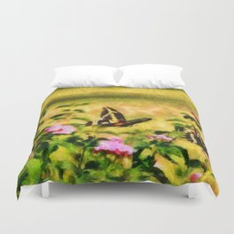Three Giant Swallowtails - Monet Style Duvet Cover