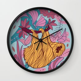 Cute funny sloth. Wall Clock