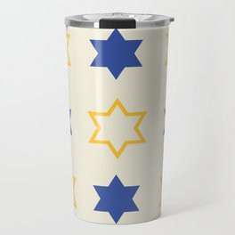 Star of David Yellow and  Blue on Cream background Travel Mug