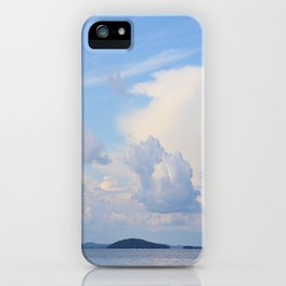 Blue Lakescape With White Clouds In The Blue Sky #decor #society6 iPhone Case