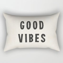 Distressed Ink Effect Good Vibes | Black on Off White Rectangular Pillow