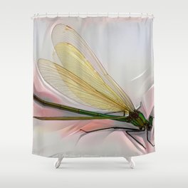 Dragonfly creeps on a white Shower Curtain