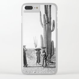 Vintage Native American Photo with Saguao Cactus Clear iPhone Case