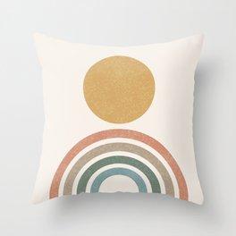 Mid-Century Modern Rainbow Throw Pillow