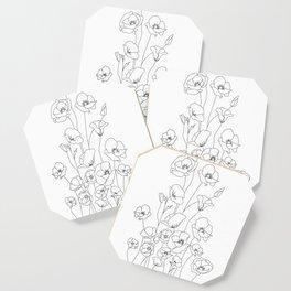 Poppy Flowers Line Art Coaster