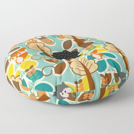 Magical forest with foxes and bears Floor Pillow