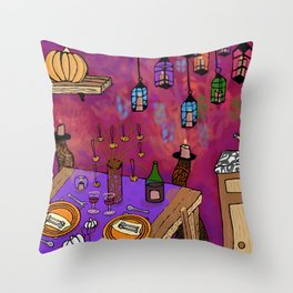 Autumn Table in Candlelight Throw Pillow
