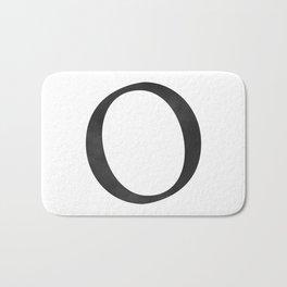 Letter O Initial Monogram Black and White Bath Mat