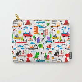 Dinosaur City Watercolor Transportation Pattern Carry-All Pouch