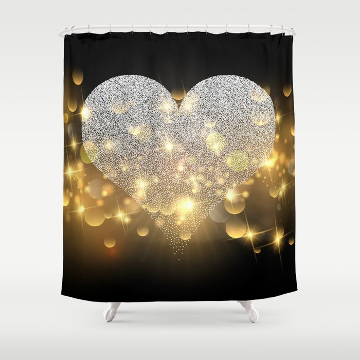 Valentines Day Glitter Heart Gold Sparkle Shower Curtain By Themorganway