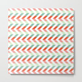 Chevron Raspberry and Peach - Geometric pattern  Metal Print