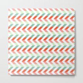 Chevron Raspberry and Peach - Geometric pattern  Metal Print