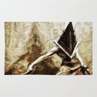 silent hill Area & Throw Rugs featuring Silent Hill Pyramid Head by Joe Misrasi