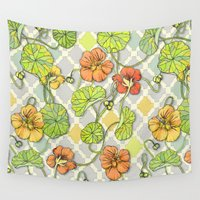 climbing Wall Tapestries featuring Climbing Nasturtiums in Lemon, Lime and Tangerine by micklyn