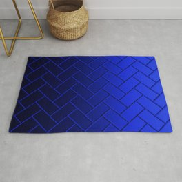 Herringbone Gradient Dark Blue Rug