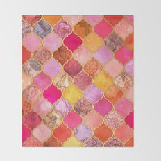 Hot Pink, Gold, Tangerine & Taupe Decorative Moroccan Tile Pattern Throw Blanket