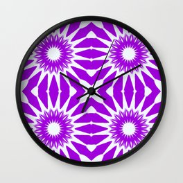 purple & white pinwheel flowers Wall Clock