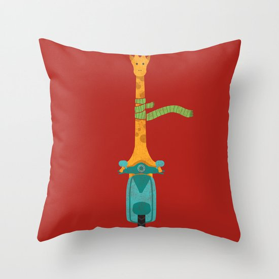 Scooter - ing around Throw Pillow