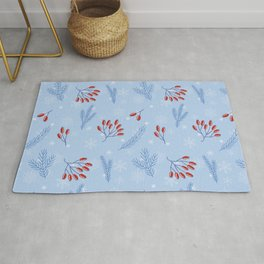 Winter Pattern With Rosehip and Pine Branches Rug