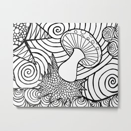 Funky Abstract Muhroom Zendoodle Scene Metal Print