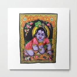 Baby Krishna Sequin Wall Tapestry Metal Print