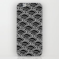 Waves All Over - White on Black iPhone & iPod Skin
