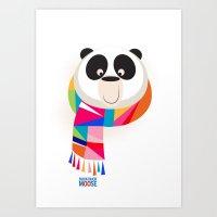 Monochromatic animals wearing scarves, Panda. Art Print