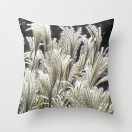 Silver Grass Plumes Throw Pillow