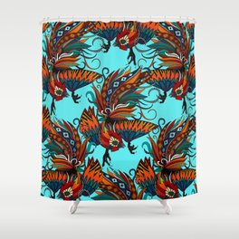 rooster ink turquoise Shower Curtain
