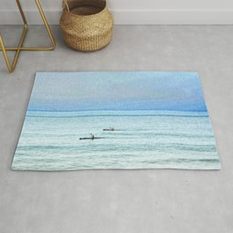 Seascape with kayaks watercolor Rug