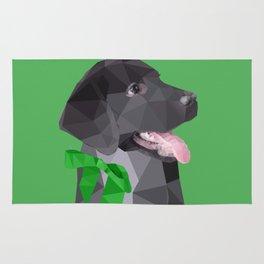 Low Polygon Black Labrador - Green Bow Rug