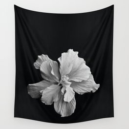 Hibiscus Drama Study - Black & White High Impact Photography Wall Tapestry