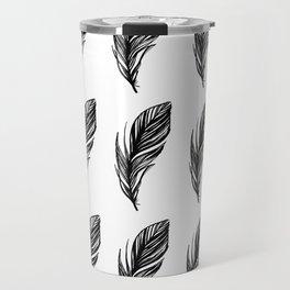 Black and White Feather Pattern Travel Mug