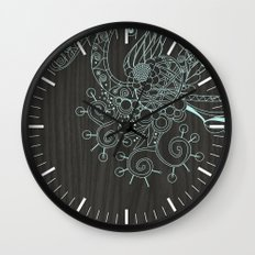 Tangle on dark wood Wall Clock