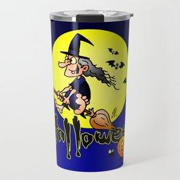 Halloween, witch on a broom, bats and pumpkins Travel Mug