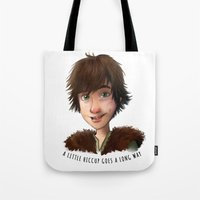 hiccup Tote Bags featuring A little Hiccup goes a long way by Fla'Fla'