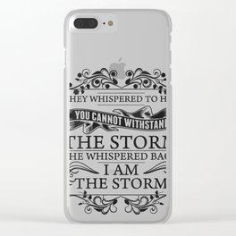 Womens She Whispered Back I Am The Storm Womens Motivational V-Neck T-Shirt Clear iPhone Case