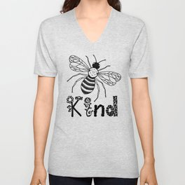 Be Kind Cute Bee Drawing with Flowers  Unisex V-Neck