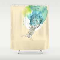 snail Shower Curtains featuring snail by Sabine Israel