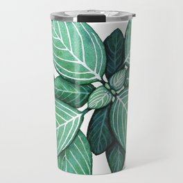 Watercolor Green Plant with White Veins Travel Mug