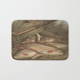 Vintage Painting of Caught Brook Trout (1868) Bath Mat
