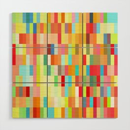 colorful rectangle grid Wood Wall Art