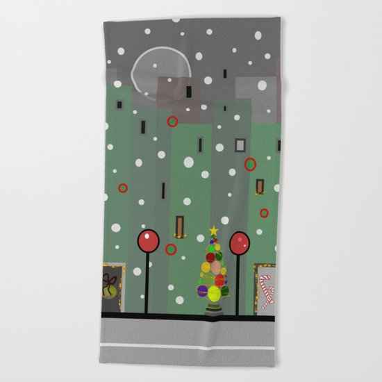 City Christmas Beach Towel