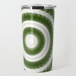 Green White Kaleidoscope Art 8 Travel Mug