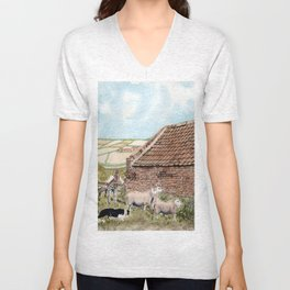 Farm Shed with Sheep Unisex V-Neck