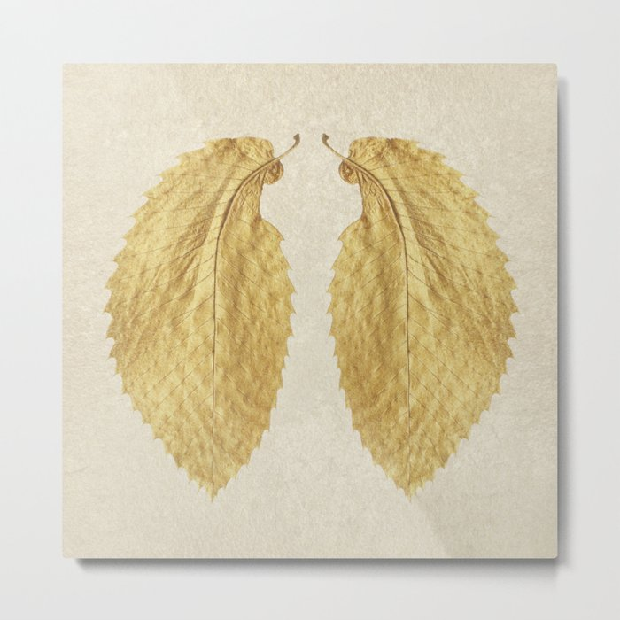 Gold Leaf Wings on Gold Tile Metal Print