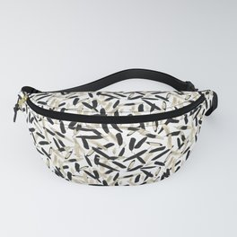Black and White Feather Repeating Pattern Fanny Pack